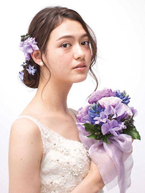 Clothing, Hairstyle, Petal, Shoulder, Photograph, Purple, Lavender, Dress, Bridal accessory, Beauty,