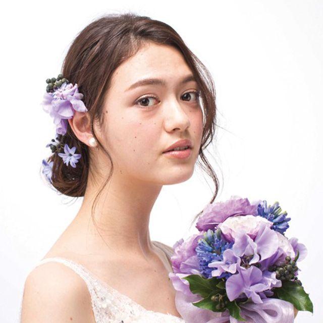 Clothing, Petal, Hairstyle, Shoulder, Photograph, Purple, Lavender, Dress, Bridal accessory, Beauty,