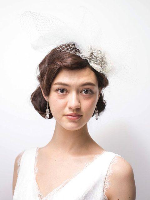 Clothing, Lip, Hairstyle, Eye, Shoulder, Eyebrow, Eyelash, Bridal accessory, Jaw, Dress,