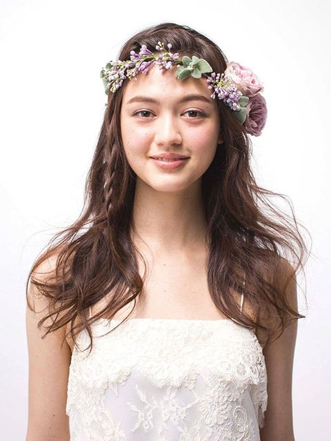 Clothing, Hairstyle, Forehead, Shoulder, Eyebrow, Hair accessory, Photograph, Headpiece, Style, Dress,
