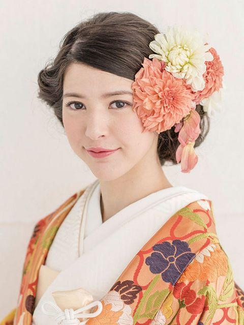 Hairstyle, Style, Petal, Costume, Kimono, Peach, Artificial flower, Portrait, Makeover, Portrait photography,