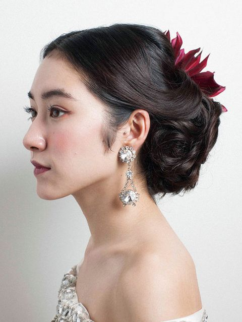 Hair, Ear, Earrings, Hairstyle, Skin, Chin, Forehead, Eyebrow, Eyelash, Fashion accessory,