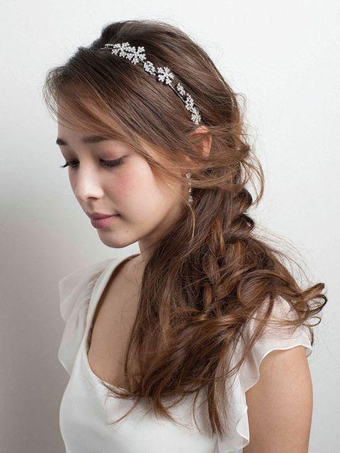 Lip, Hairstyle, Skin, Forehead, Shoulder, Eyebrow, Hair accessory, Headpiece, Style, Headgear,