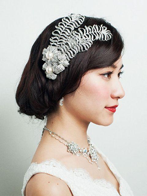Clothing, Lip, Hairstyle, Chin, Forehead, Bridal accessory, Eyebrow, Hair accessory, Fashion accessory, Style,