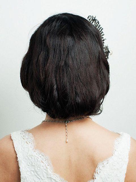Hair, Hairstyle, Shoulder, Hair accessory, Style, Headgear, Fashion, Neck, Back, Bridal accessory,