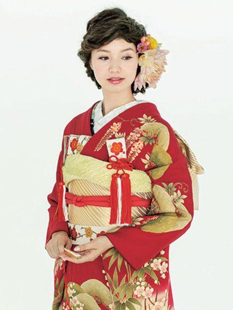 Sleeve, Costume, Tradition, Costume design, Maroon, Kimono, Fashion design, Hair accessory, Artificial flower, Victorian fashion,