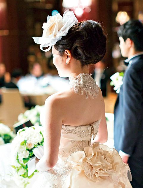 Hair, Bride, Photograph, Dress, Gown, Headpiece, Wedding dress, Facial expression, Hairstyle, Bridal clothing,