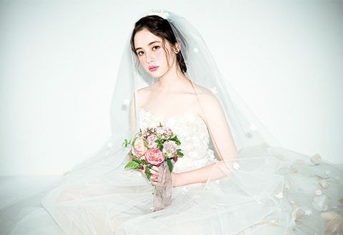 Clothing, Dress, Skin, Petal, Bridal clothing, Photograph, Bridal veil, Wedding dress, Veil, Bride,