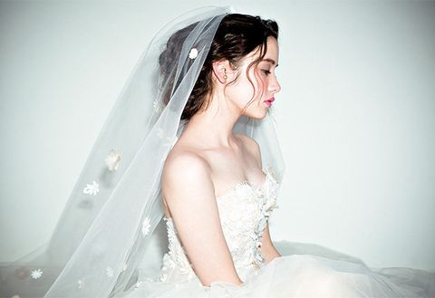 Clothing, Bridal veil, Hairstyle, Skin, Veil, Bridal clothing, Shoulder, Photograph, Joint, Bridal accessory,