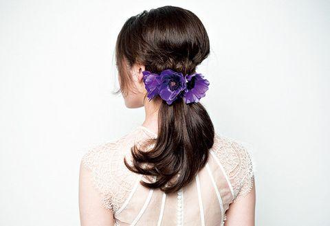 Hairstyle, Shoulder, Petal, Hair accessory, Style, Purple, Lavender, Violet, Headgear, Beauty,