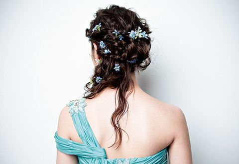 Hairstyle, Shoulder, Style, Back, Strapless dress, Neck, Hair accessory, Teal, Turquoise, Long hair,