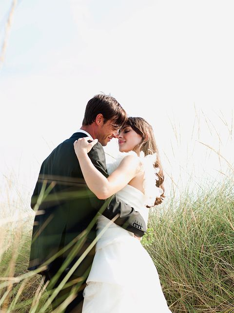 People in nature, Photograph, Bride, Romance, Wedding dress, Gown, Dress, Grass, Wedding, Ceremony,
