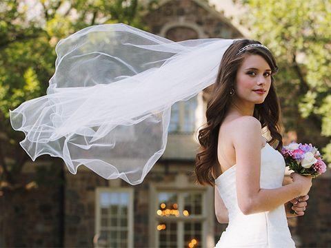 Veil, Bride, Bridal veil, Bridal accessory, Photograph, Wedding dress, Clothing, Dress, Beauty, Bridal clothing,