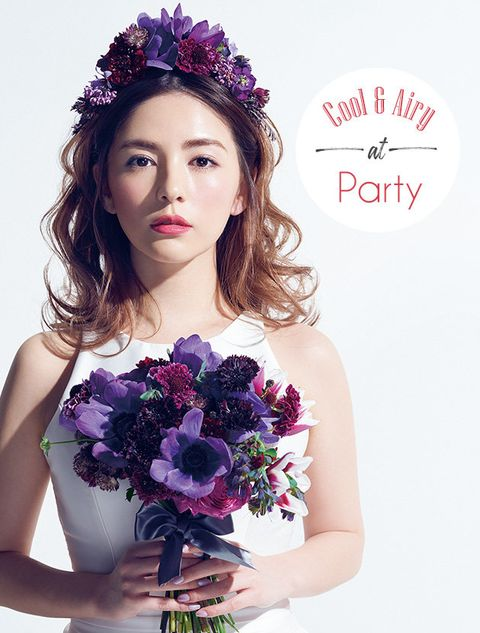 Hair, Headpiece, Purple, Beauty, Skin, Hair accessory, Flower, Bride, Bouquet, Hairstyle,