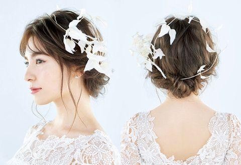Hair, Headpiece, Hairstyle, Clothing, Hair accessory, Bridal accessory, Fashion accessory, Chin, Chignon, Ear,