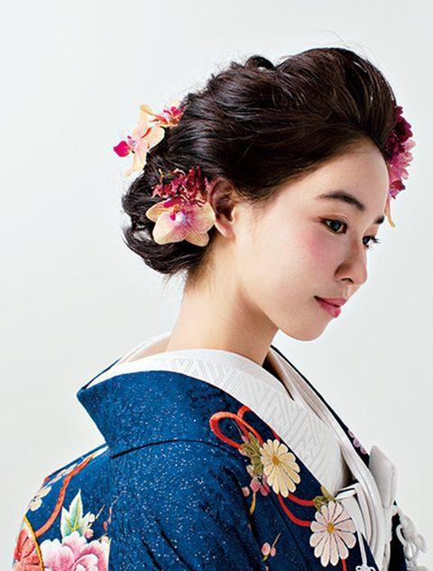 Hair, Hairstyle, Kimono, Shimada, Beauty, Sakko, Chignon, Costume, Black hair, Bun,