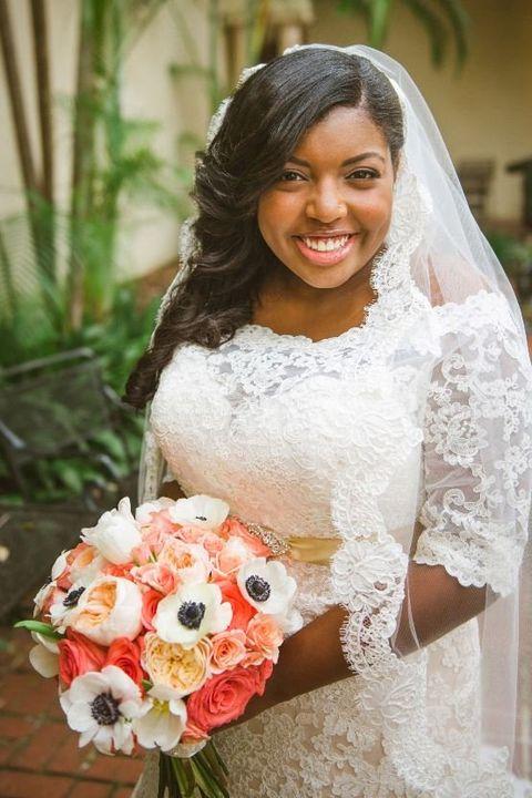 Bride, Photograph, White, Wedding dress, Veil, Dress, Bouquet, Clothing, Bridal clothing, Flower Arranging,