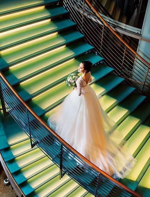 Photograph, Blue, Dress, Yellow, Bride, Wedding dress, Fun, Bridal clothing, Happy, Leisure,