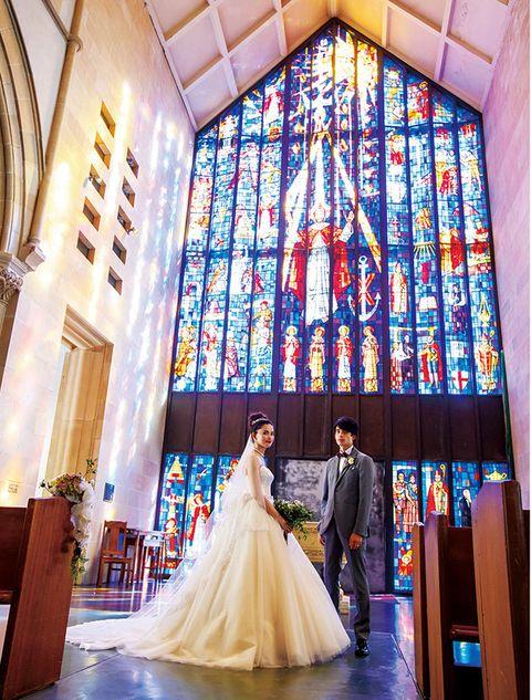 Photograph, Ceremony, Dress, Chapel, Wedding dress, Yellow, Bride, Wedding, Wedding reception, Event,