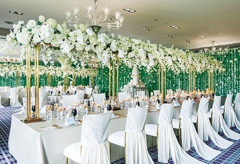 Decoration, Wedding banquet, White, Function hall, Chiavari chair, Room, Table, Centrepiece, Wedding reception, Flower,