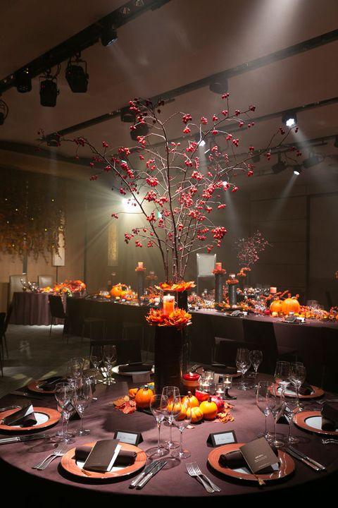 Function hall, Centrepiece, Decoration, Rehearsal dinner, Lighting, Table, Design, Event, Interior design, Tableware,