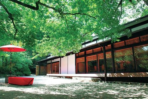 Green, Red, Leaf, Umbrella, Shade, Tints and shades, Coquelicot, Japanese architecture, Chinese architecture, Courtyard,