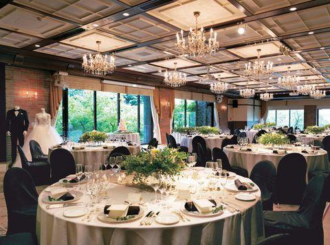 Wedding banquet, Decoration, Function hall, Rehearsal dinner, Banquet, Restaurant, Table, Event, Party, Interior design,