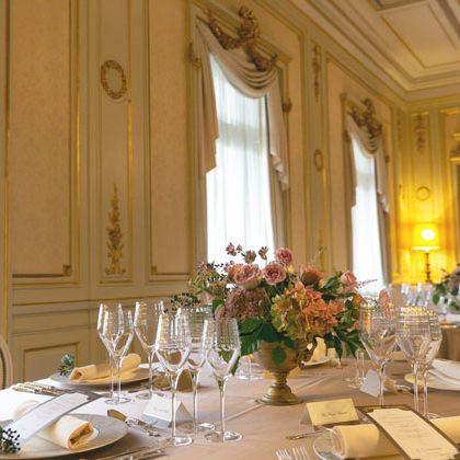 Centrepiece, Room, Restaurant, Yellow, Dining room, Function hall, Interior design, Rehearsal dinner, Table, Furniture,