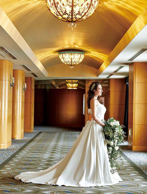 Bride, Dress, Gown, Wedding dress, Photograph, Bridal clothing, Clothing, Yellow, Ceremony, Wedding,