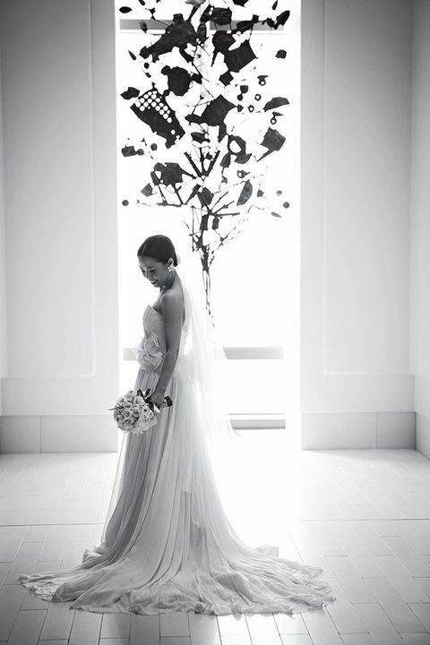 Bride, Photograph, Gown, Wedding dress, Dress, White, Clothing, Bridal clothing, Beauty, Black-and-white,