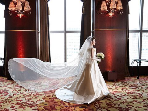 Bride, Gown, Wedding dress, Photograph, Dress, Red, Clothing, Bridal clothing, Veil, Bridal accessory,