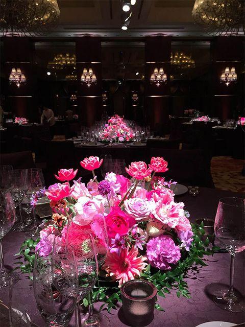Pink, Flower, Floristry, Flower Arranging, Floral design, Centrepiece, Plant, Lighting, Bouquet, Petal,