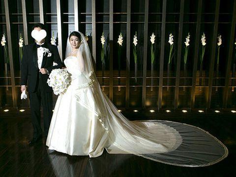 Bridal clothing, Dress, Bridal veil, Veil, Bridal accessory, Suit, Formal wear, Coat, Gown, Wedding dress,
