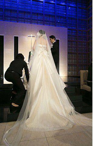 Clothing, Bridal veil, Bridal clothing, Trousers, Human body, Veil, Textile, Photograph, Outerwear, Dress,