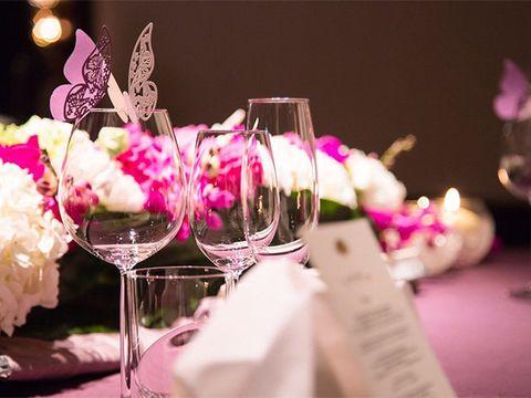 Stemware, Glass, Drinkware, Pink, Petal, Flower, Champagne stemware, Purple, Tableware, Magenta,