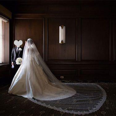 Bridal veil, Dress, Veil, Photograph, Bridal clothing, Floor, Wedding dress, Gown, Bride, Door,