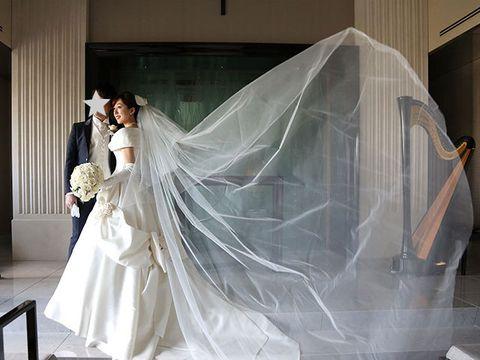 Veil, Bridal veil, Bridal accessory, Bride, Wedding dress, Photograph, Bridal clothing, Dress, Gown, Beauty,