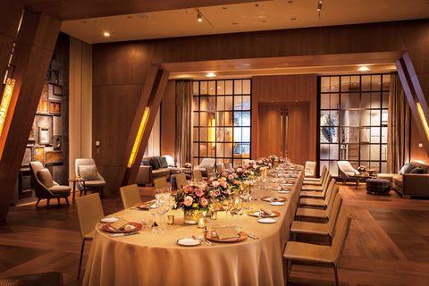 Restaurant, Building, Function hall, Room, Banquet, Rehearsal dinner, Interior design, Table, Dining room, Furniture,