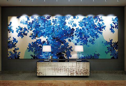 Blue, Majorelle blue, Wall, Modern art, Wallpaper, Interior design, World, Art, Room, Plant,