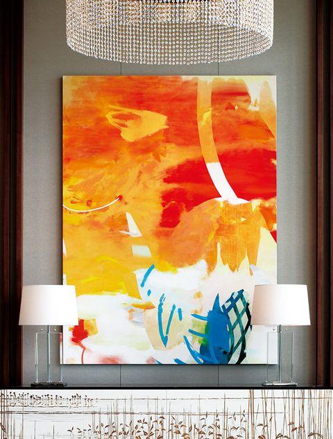 Modern art, Yellow, Painting, Orange, Art, Room, Interior design, Tree, Window, Textile,