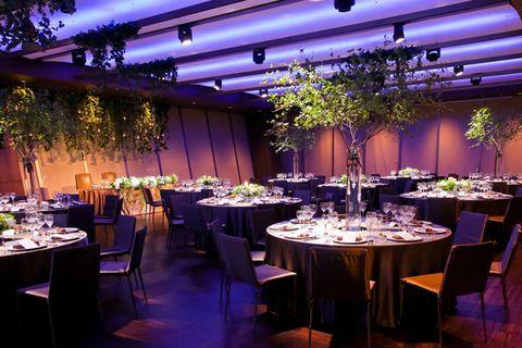 Decoration, Function hall, Wedding banquet, Purple, Lighting, Restaurant, Rehearsal dinner, Event, Interior design, Party,