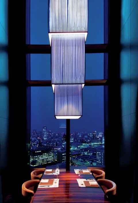 Blue, Light, Lighting, Sky, Architecture, Light fixture, Room, Window, Lamp, Window covering,