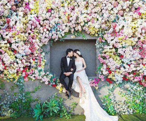 Photograph, Bride, Flower Arranging, Floral design, Wedding dress, Flower, Ceremony, Petal, Wedding, Floristry,