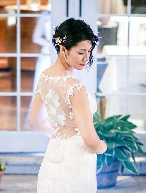 White, Photograph, Shoulder, Dress, Clothing, Bride, Blue, Wedding dress, Beauty, Yellow,