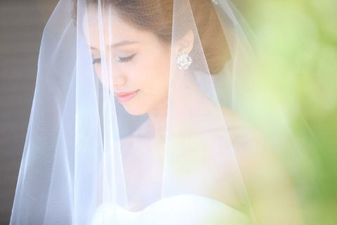 Veil, Bridal veil, Hair, Photograph, Bridal accessory, Bride, Skin, Beauty, Wedding dress, Yellow,