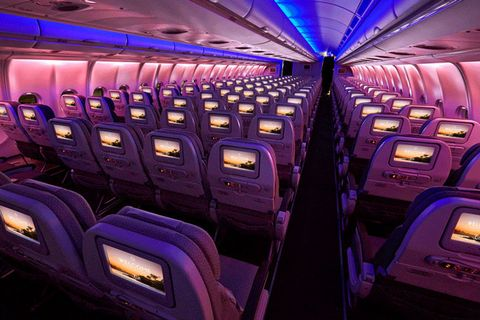 Aircraft cabin, Airline, Purple, Vehicle, Air travel, Airliner, Airplane,