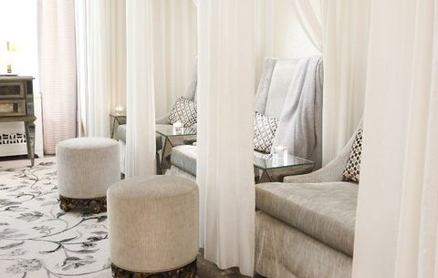 Curtain, Room, Furniture, Property, Interior design, Table, Suite, Window treatment, Material property, Beige,