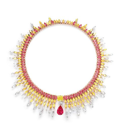Jewellery, Necklace, Fashion accessory, Body jewelry, Yellow, Gemstone, Magenta, Ruby, Lei, Jewelry making,