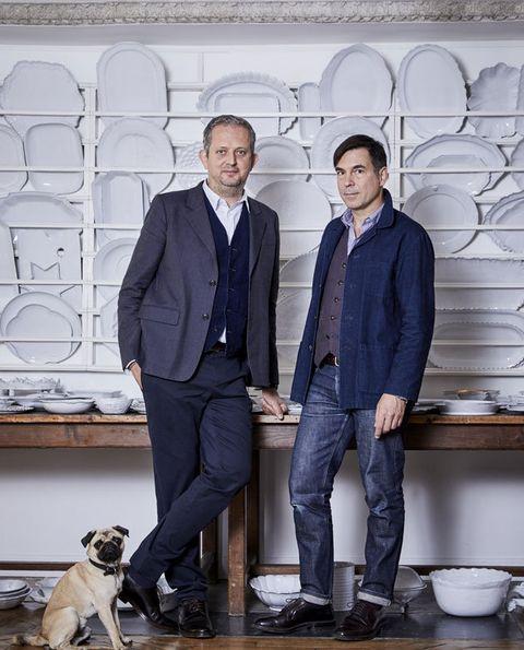 Suit, Formal wear, Dog, Canidae, White-collar worker, Outerwear, Jeans, Companion dog, Blazer, Denim,