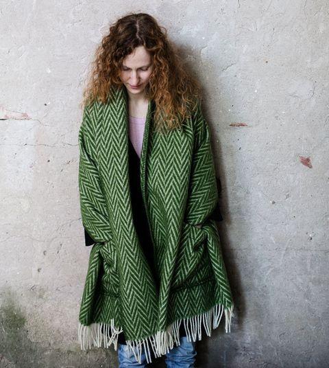 Clothing, Green, Outerwear, Fashion, Woolen, Sleeve, Coat, Jacket, Cardigan, Wool,